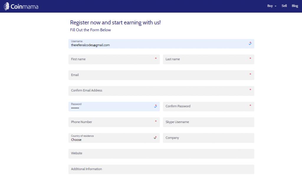 Coinmama registration