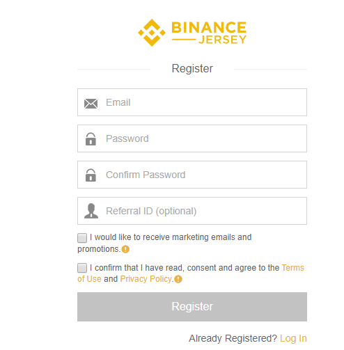 binance jersey sign up