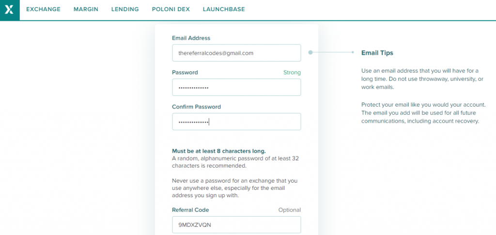poloniex referral code
